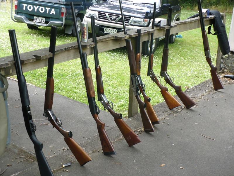 A selection of shotguns